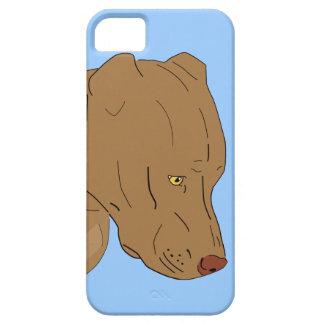 Cute and Sad Pit Bull's Portrait - Line Art iPhone 5 Case
