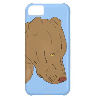 Cute and Sad Pit Bull's Portrait - Line Art iPhone 5C Cases