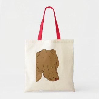 Cute and Sad Pit Bull's Portrait - Line Art Tote Bag