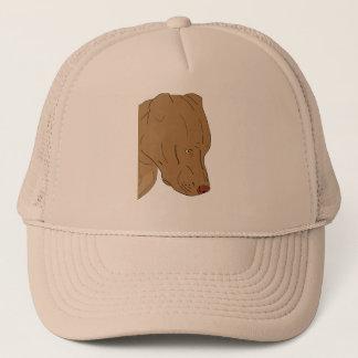 Cute and Sad Pit Bull's Portrait - Line Art Trucker Hat
