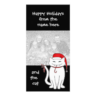 Cute and sassy Christmas white kitty Photo Card