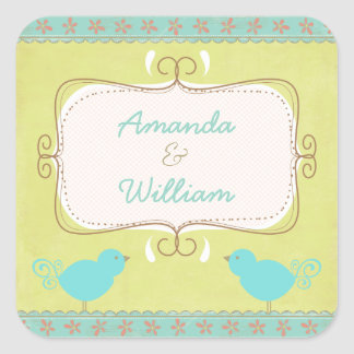 Cute And Shabby Blue Birds Envelope Seal Square Stickers