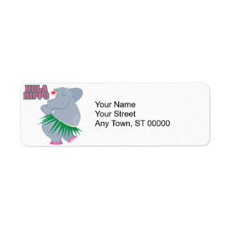 cute and silly luau hula hippo label