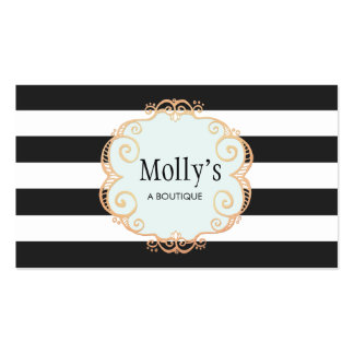 Cute and Stylish Black and White Striped Pattern Business Card