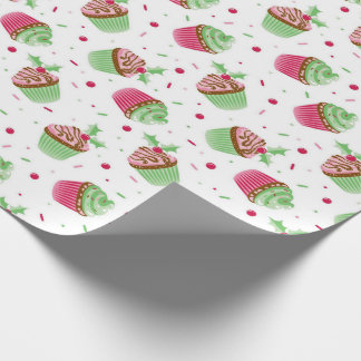 Cute and sweet Christmas colored cupcake Wrapping Paper