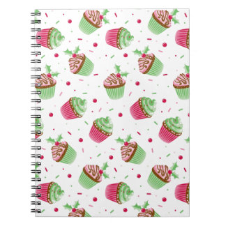 Cute and sweet Christmas colored cupcakes Notebook