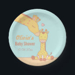 "Cute and Sweet Giraffe Baby Shower Supplies Paper Plate<br><div class=""desc"">Cute and sweet giraffe baby shower supplies to compliment that giraffe themed baby shower! It has a mommy giraffe leaning in to give a kiss on the side of her baby giraffe, expressing the care mother has for child. The cute calf has a baby pacifier in its mouth and is...</div>"