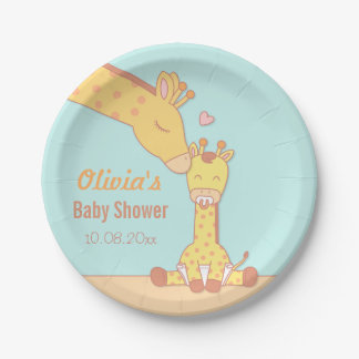 Cute and Sweet Giraffe Baby Shower Supplies Paper Plate