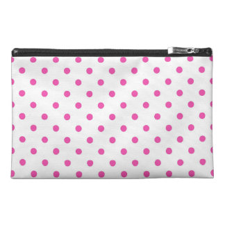 Cute and sweet pink polka dots travel accessory bags