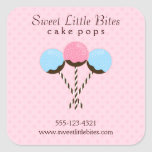 Cute and Trendy Cake Pops Square Stickers