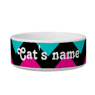 Cute and trendy chevron pattern personalized cat bowl