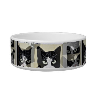 Cute and unique Black and White cat food bowll Bowl