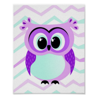 Cute and unique cartoon owl on chevron nursery poster
