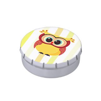 Cute and unique cartoon owl on stripes background jelly belly candy tins
