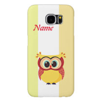 Cute and unique cartoon owl on stripes background samsung galaxy s6 case