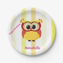 Cute and unique yellow and orange cartoon owl paper plate