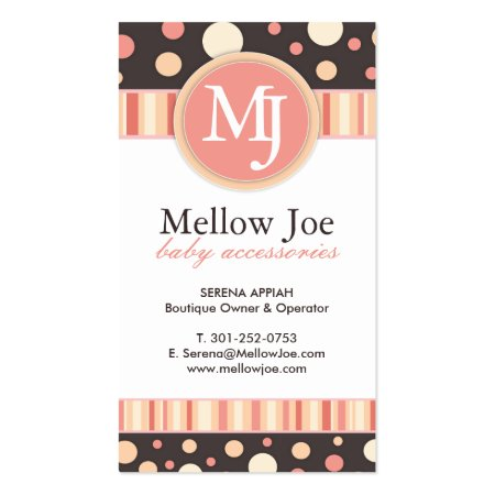 Cute Whimsical Dots and Stripes Baby Shop Business Cards