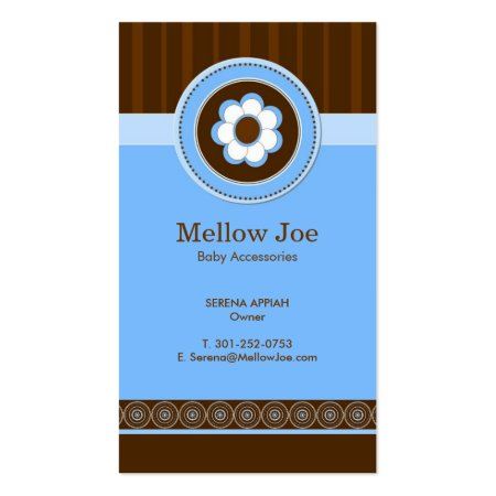 Cute Chocolate Brown and Blue Business Cards