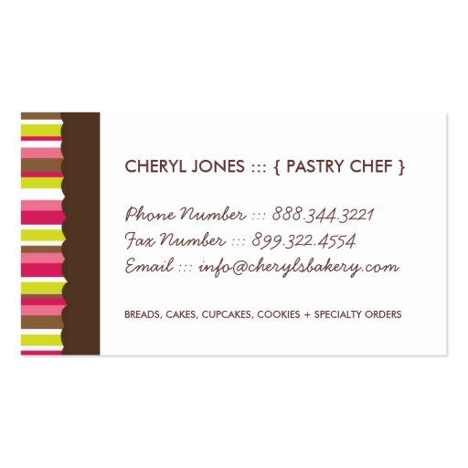 Cute and Whimsical Cupcake Bakery Business Cards (back side)
