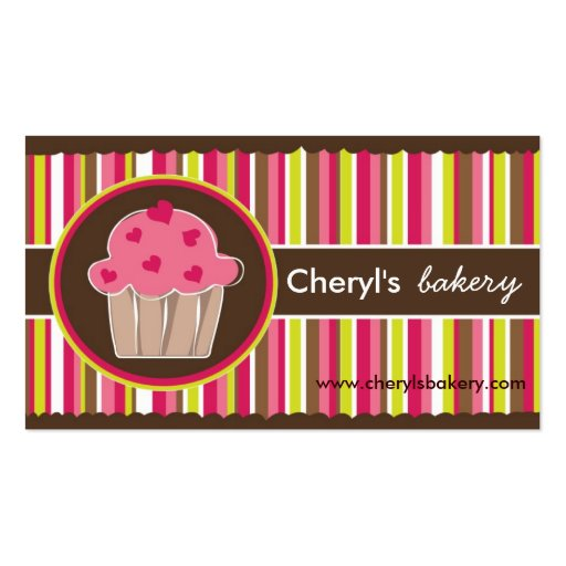 Cute and Whimsical Cupcake Bakery Business Cards (front side)