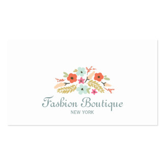 Cute and Whimsical Flower Bouquet Boutique White Business Card