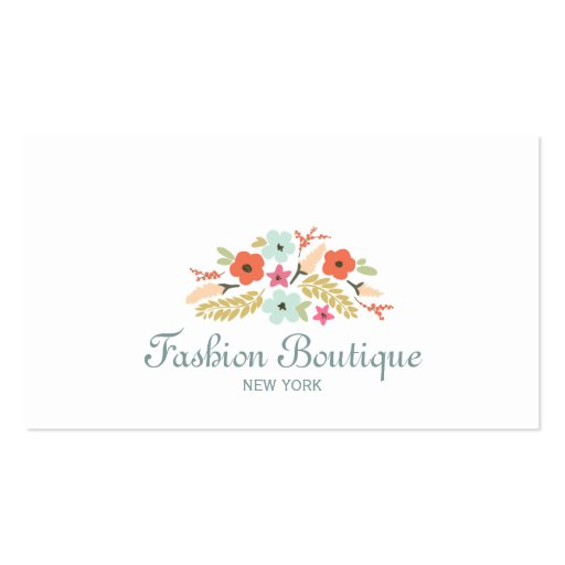 Cute and Whimsical Flower Bouquet Boutique White Business Card Templates