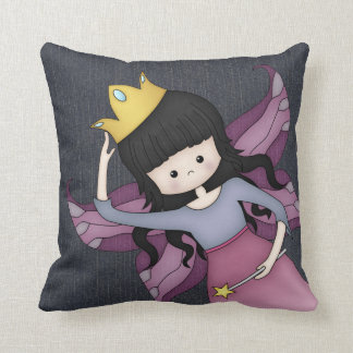 Cute and Whimsical Little Fairy Princess Girl Throw Pillow