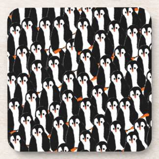 Cute and Whimsical Piles of Penguins Drink Coaster