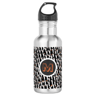 Cute and Whimsical Piles of Penguins Monogram Water Bottle