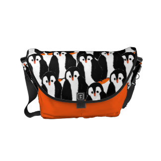 Cute and Whimsical Piles of Penguins Small Messenger Bag