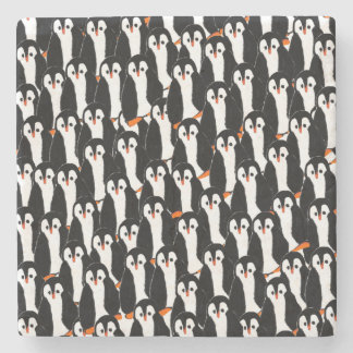 Cute and Whimsical Piles of Penguins Stone Coaster
