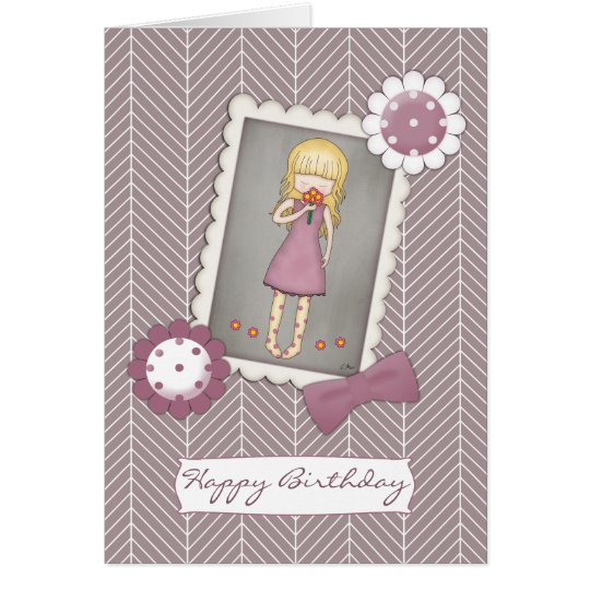 Cute and Whimsical Young Girl with Flowers Card