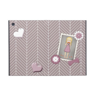 Cute and Whimsical Young Girl with Flowers Cover For iPad Mini