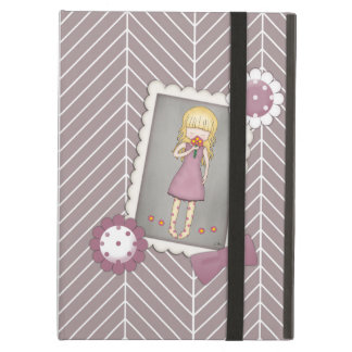 Cute and Whimsical Young Girl with Flowers iPad Air Cover