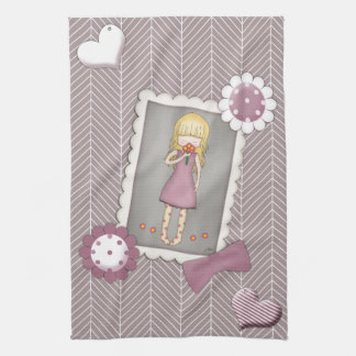 Cute and Whimsical Young Girl with Flowers Hand Towels