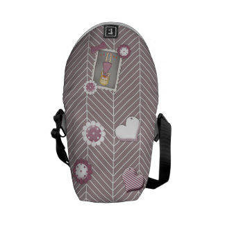 Cute and Whimsical Young Girl with Flowers Messenger Bag