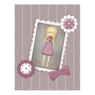 Cute and Whimsical Young Girl with Flowers Postcard