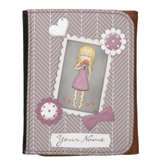 Cute and Whimsical Young Girl with Flowers Wallet