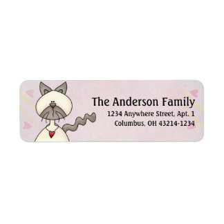 Cute Angel Antics White Gray Cat Address Labels