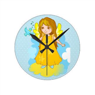 Cute Angel cartoon Round Clock