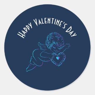 Cute Angel Cherub Holding a Lace Valentine Heart Classic Round Sticker