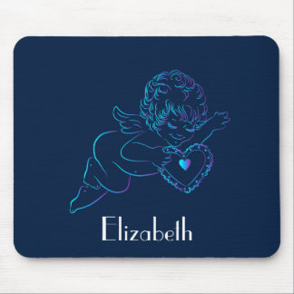 Cute Angel Cherub Holding a Lace Valentine Heart Mouse Pad