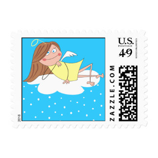 Cute Angel Christmas Postage Stamps