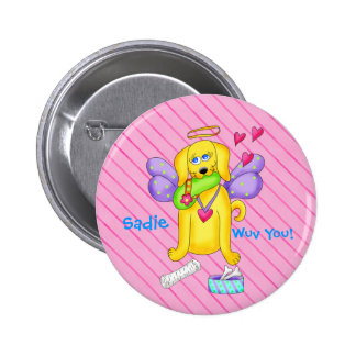 Cute Angel Dog Personalized Name Pink 2 Inch Round Button