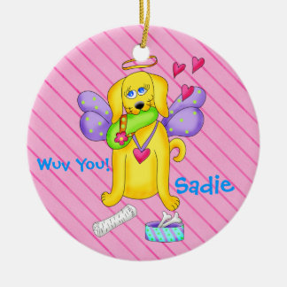 Cute Angel Dog Personalized Name Pink Ceramic Ornament