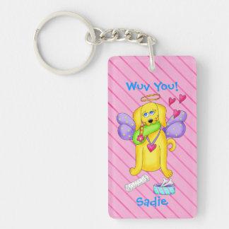 Cute Angel Dog Personalized Name Pink Double-Sided Rectangular Acrylic Keychain