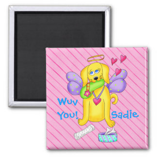 Cute Angel Dog Personalized Name Pink Magnet