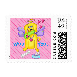 Cute Angel Dog Personalized Name Pink Postage