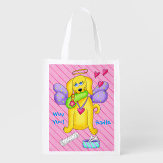 Cute Angel Dog Personalized Name Pink Reusable Grocery Bag
