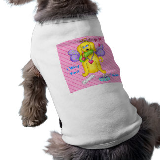 Cute Angel Dog Personalized Name Pink Shirt